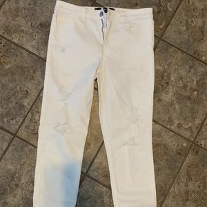 White denim hollister skinny jeans